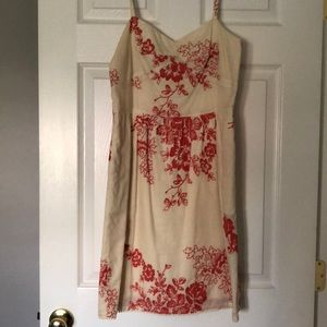 Size 6 J Crew Cream and Red Cotton Sundress